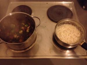 אורז עם פטריות וכרוב ניצנים